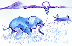AFRICA TO THE NAKED 347 (eduard muntada) Tags: africa to the naked oxid 347 africanpeople watercolor river mountains sun light purple blue drawing survive simplicity minimal art