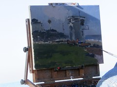 Painting Laguna (Bennilover) Tags: lagunabeach lifeguardtower painting oils oilpainting artists artist summer white lateexplore