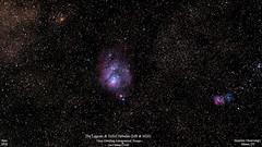 M8andM20_Widefield_June2018_HomCavObservatory_ReSizedDown2HD (homcavobservatory) Tags: homcav observatory m8 m20 lagoon trifid nebula sagittarius emission m21 ngc 6544 open globular cluster widefield orion ed80t triplet apochromatic refractor 80mm f6 losmandy g11 mount gemini 2 8inch f7 criterion reflector celestron shorttube achromat phd2 zwo asi290mc canon 700d dslr astronomy astrophotography