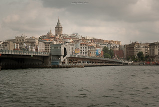 View of Karakoy, Galata Tower and the Golden Horn from Eminonu coast in Istanbul, Turkey