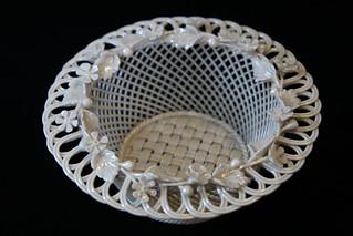 Irish Belleck ceramic basket