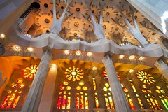 高迪森林 gaudi forest (nzfisher) Tags: forest interior architecture building gothic canopy gaudi sagradafamilia column stainedglass colour color colourful colorful orange red yellow barcelona spain 24mm canon travel holiday