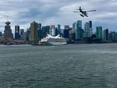 Leaving Vancouver on a Grey Day (Neal D) Tags: bc vancouver cruise skyline ship cruiseship plane