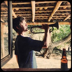 Josh blows the horn (photo by Aaron) (olive witch) Tags: 2018 abeerhoque altavista day horn jun18 june male mexico outdoors