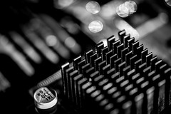 Electri City (Aleem Yousaf) Tags: monochrome white black macromondays nikon d810 nikkor105mm bokeh macro closeup shallow depth field tabletop light studio photography creative flickr insideelectronics heatsink shadows