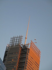 Evening Flight Plane flying over NY Times Building 5150 (Brechtbug) Tags: evening flight plane flying over new york times building city nyc 2018 above blue sky travel airplane jet fly air craft traveling commuting trip march 07082018 worms eye view from below sun set sunset tower spike spire roof