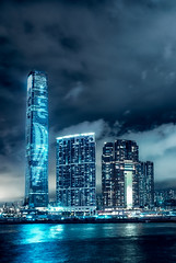 ICC Light Show at downtown Hong Kong (Matthias Dengler || www.snapshopped.com) Tags: hong kong china city dark evening monsoon architecture blue hour canon fujifilm block housing skyscraper skyline matthias dengler snapshopped big travel explore create