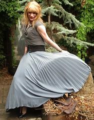 Requested Pose (Amber :-)) Tags: long grey sunray pleated skirt tgirl transvestite crossdressing