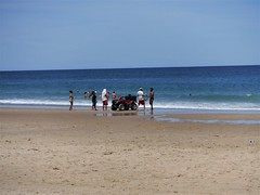 DSCF3090, Life Guards attempt to pull some debris out of the sand, July 2018 (a59rambler) Tags: capecod beach massachusetts