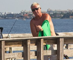 Fisherman with green shirt65 (LarryJay99 ) Tags: snookisland lakeworthflorida 2018 water intercoastalwaterway people f fisherman shirtless shades sunglasses glasses face greenshirt man men guy guys dude male studly manly dudes handsome peekingpits peekingnips peeking facial shoulders blonde