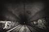 Vampire Hunting (Thomas Hawk) Tags: california sanfrancisco usa unitedstates unitedstatesofamerica bw graffiti traintracks tunnel fav10 fav25 fav50 fav100