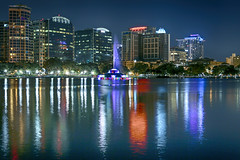Orlando, Florida: Lake Eola Skyline (rocinante11) Tags: fountain lakeeola orlando florida reflection blue bluehour light canoneos5dmarkiii ef2470mmf28lusm