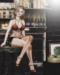 Let's  have a Drink tonight. (desiredarkrose) Tags: unitedcolors tram slblog slfashion uber collabor88 breathe lyrium amias cosmopolitanevent blonde bar elysion lelutka greer equal10