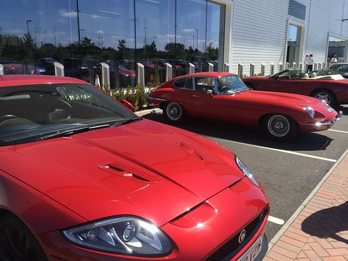 A trio of red sportsters: XKRS, E-Type, XK8
