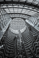 Thompson Center Study 1 (Wits End Photography) Tags: lines pattern traveling monochrome travel text architecture tourist graphic tourism shape city abstract bw black blackwhite blackandwhite gray grey letters line white word writing