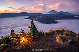 Camping over the mountain with Bromo background