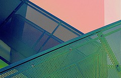Architecture in pink and green... (claredlgm1) Tags: pink fence diagonal abstract minimal metal holes sturcture texture