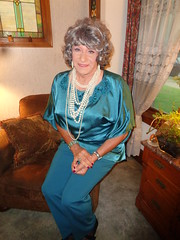 Change Of Outfit (Laurette Victoria) Tags: pants satin gray pearls necklace woman laurette