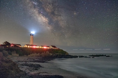 Distant Shores (Matt McLean) Tags: astrophotography bayarea california coast galaxy lighthouse longexposure milkyway night nightexposure nightsky pigeonpoint stars beach shore ocean pacific beacon