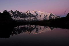 Twilight Reflections, Mont Blanc (JinxiPhotography) Tags: twilight mountain sunset reflection lake mont blanc chamonix france still clear sky water pink dusk glow calm quiet