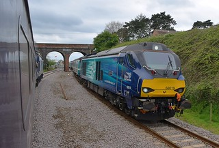 A Picture from just over a year ago, DRS 68019 'Brutus' leads the 12.57 Lowestoft - Norwich service towards Reedham Station, after crossing over the Swing Bridge. 14 04 2017
