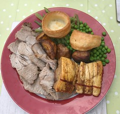 The Birthday Boy's Dinner . (AndrewHA's) Tags: food roast pork potatoes yorkshire puddings peas green beans crackling gravy apple sauce birthday meal