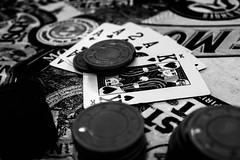Game Night (_Lionel_08) Tags: poker cards games black white chips gambling king ace bet money