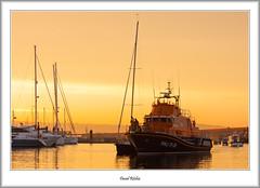 Lifeboat And Yacht (flatfoot471) Tags: 2016 70300canon boats brixham devon dusk england holiday july lifeboat marina normal rnlbalecchristinadykes1728 summer sunset twilight unitedkingdom gbr