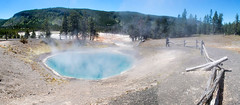 Black Sand Pool - HFF! (RPahre) Tags: fence hff thermalfeatures yellowstonenationalpark yellowstone wyoming hotspring blacksandpool blacksandbasin bluesky panorama pano geology