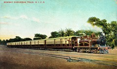 India Railways - Great Indian Peninsula Railway - GIPR 0-6-2ST steam locomotive and the Bombay suburban train (vintage postcard) (HISTORICAL RAILWAY IMAGES) Tags: train railway india gipr bombay kitson steam locomotive postcard