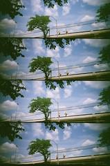 Tracks (Crawford Brian) Tags: workers train cta chicagotransitauthority lomo lomography film supersampler toycamera plastic oakpark elevated el tree sky men wires illinois analog kodakgold400 35mm thedarkroomcom