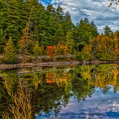 Lake Placid New York  ~ Ausable River at Franklin Road Bridge - Reflection (Onasill ~ Bill Badzo) Tags: lakeplacid saranaclake towns nrhp essexcounty franklincounty historic tb retreat prescotthouse former hospital trudeau road bridge fall autumn collors reflections ausable river ausableriver dam newyork state staint st armand clintoncounty vacation travel hiking trekking sky clouds hdr tourist leaves turning fishing flyfishing boating town village adirondack mountains landscape seascape winter olympics canon eos rebel 18250mm macro sigma lens sl1 wood tree forest snow mountain train water