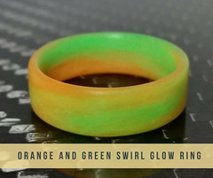 Stylish Orange and Green Swirl Glow Ring | Core Carbon Rings (Corecarbonrings) Tags: carbonfiberrings handcrafted carbon ring extremely durable ultra lightweight glow