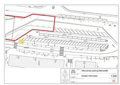 Plano de las afecciones que generará la obra en el aparcamiento de Okin Zuri.