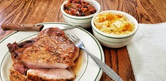pork chop with beans and mac (jeffreyw) Tags: bakedbeans macandcheese sousvide butter oliveoil supper dinner food lunch porkchop pansauce