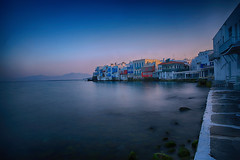 Tranquil Morning at Little Venice (lfeng1014) Tags: tranquilmorningatlittlevenice tranquilmorning littlevenice mykonos greekisland aegeansea greece ocean sea oceanview seashore whitewashedhouses building dawn light atdawn longexposure 13seconds canon5dmarkiii ef2470mmf28liiusm coloufulhouses bluesky landscape travel lifeng