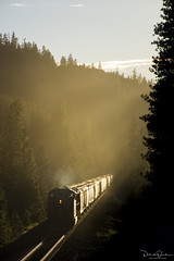 Westward! (Patrick Dirden) Tags: up5758 c44accte ac4400cte ge generalelectric diesel locomotive engine rail railroad train freighttrain graintrain up unionpacific unionpacificrailroad upcanyonsubdivision springgardenca plumasnationalforest plumascounty sierranevada sierra mountains silhouette sunset dusk northerncalifornia california