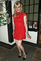 Normal Routine (Amber :-)) Tags: red lace dress tgirl transvestite crossdressing