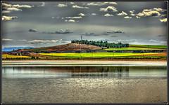 Un paisaje, en un lugar de La Mancha (Jose Roldan Garcia) Tags: naturaleza nubes agua árboles aire luz libre libertad laguna luces reflejos paisaje quero toledo salina