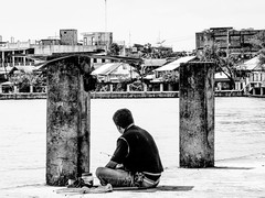 Ensconce (A. Yousuf Kurniawan) Tags: minimalism monochrome minimalist man riverlife riverside blackandwhite borneo banjarmasin streetphotography urbanlife decisivemoment kalimantan paralel juxtaposition