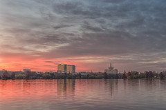 Sunset in Herastrau Park (Hattifnattar) Tags: clouds cityscape herastrau bucharest pentax lake fa43mm limited reflection