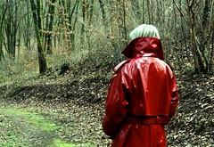 Woman in red (PernilleLassen) Tags: red woman pernillelassen copenhagen denmark raincoat winter