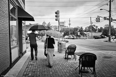 (jsrice00) Tags: leicasl 28mmf2summicronasph streetphotography fountainsquarehistoricdistrict indianapolis indiana tamarkincameraphotowalk rainy umbrella patterns