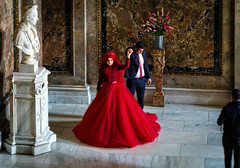 For the wedding album (Tiigra) Tags: wien austria at 2017 color couple dress flower funny interior museum neorenaissance palace people sculpture shooting vienna wedding art