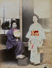 Summer Kimonos 1880s (Blue Ruin 1) Tags: geiko geisha uchiwa roundfan hotarukago fireflycage yukata japanese japan meijiperiod 1880s albumenphotograph yokohama