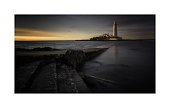I Will Leave the Light on (Lindi m) Tags: whitleybay dusk steps incomingtide light lighthouse causeway reflections