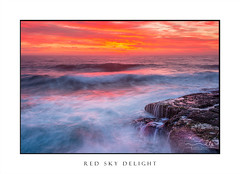 Red skies over ocean as waves crash over rocks (sugarbellaleah) Tags: ocean sunrise sky red orange yellow waves surf rocks tide tidal coast coastal morning ships waterfall seascape seaside background nature environment weather climate wollongong southcoast amazing stunning awe fabulous inspiring water seashore weathered beach colours vivid delight sensational motion flow flowing movement painted