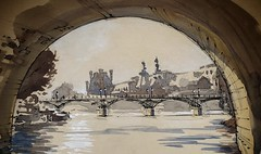 Afternoon light at Pont Neuf and the Louvre. (alexhillkurtzart) Tags: watercolor urbansketch paris