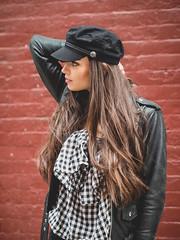 Wall (Vincent F Tsai) Tags: portrait fashion leather hat wall brick newyorkcity nyc style street girl female pose model olympusmzuiko75mmf18 panasonic lumixgx8