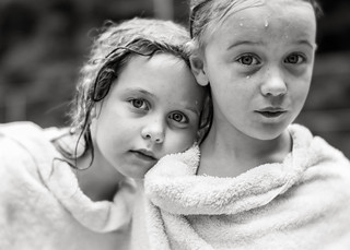 Twins in towels